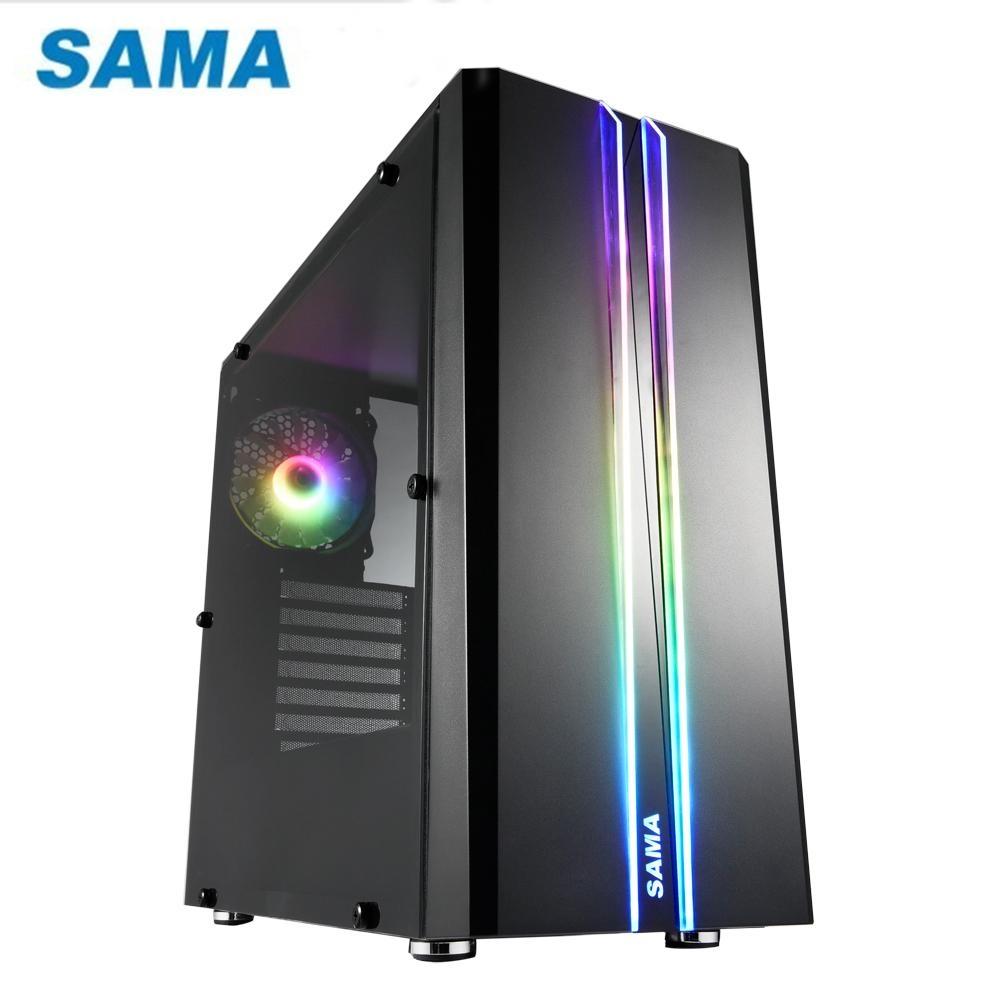 SAMA 先馬 SABD02 (B) 煥彩戰士PRO (黑) 透側 ARGB 電腦機殼
