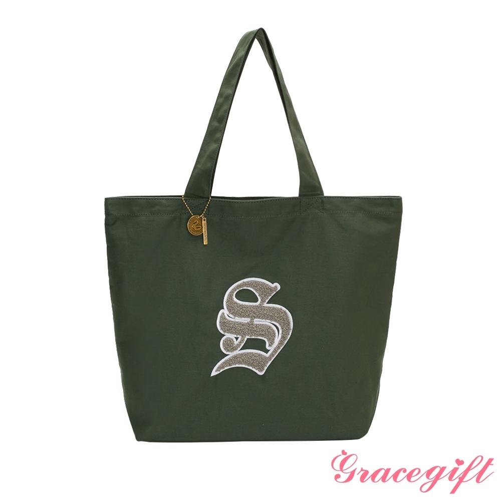 Grace gift-哈利波特史萊哲林毛巾繡帆布托特包 綠