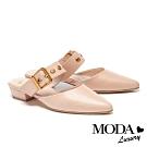 拖鞋 MODA Luxury 復古懷舊大方釦寬帶穆勒低跟拖鞋-米