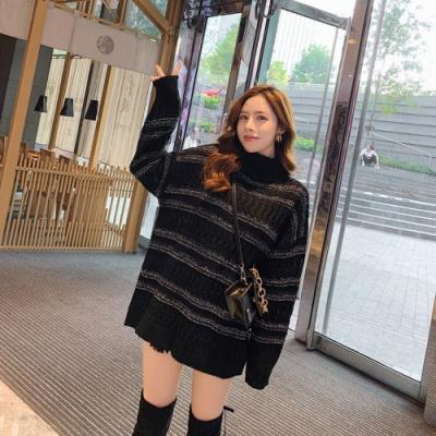 2F韓衣-韓系高領條紋素色長版毛衣-黑F