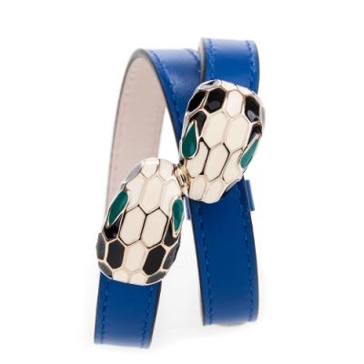 BVLGARI 寶格麗 Serpenti系琺瑯雙蛇頭小牛皮多圈手環(鈷藍碧壐色)