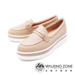WALKING ZONE (女)金屬扣厚底樂福鞋鬆糕鞋-米(另有棕)