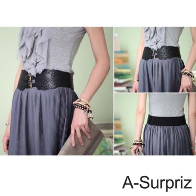A-Surpriz 縷空雕花雙扣環寬版彈性腰帶(黑)