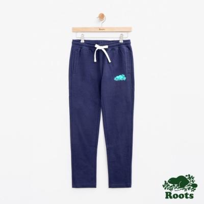 女裝Roots 彩色LOGO休閒棉褲-藍