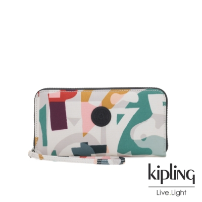 Kipling 音樂派對幾何塗鴉多層收納拉鍊長夾-IMALI