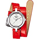 TISSOT天梭 Pinky 優雅氣質 手繞式時尚腕錶(T0842101611700)-紅