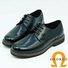 GEORGE喬治皮鞋 學院風圓頭素面綁帶牛津鞋-黑色