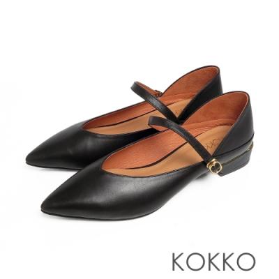 KOKKO經典尖頭柔軟小羊皮瑪莉珍粗跟鞋霧黑