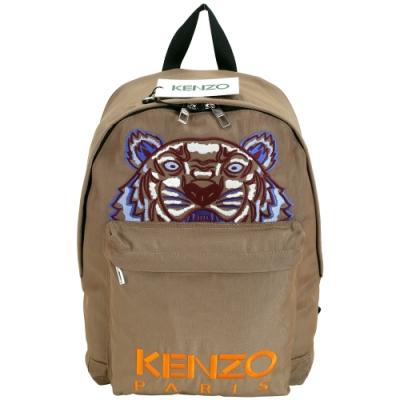 KENZO Tiger Canvas 大款 老虎刺繡圖騰帆布後背包(堅果色)