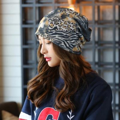 【89 zone】韓版豹紋透氣薄款套頭圍脖防風/頭巾帽(灰黃豹紋)