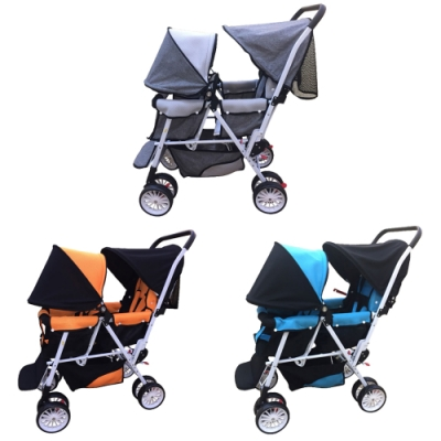 Kooma雙人嬰兒推車(天空藍/活力橘/時尚灰)