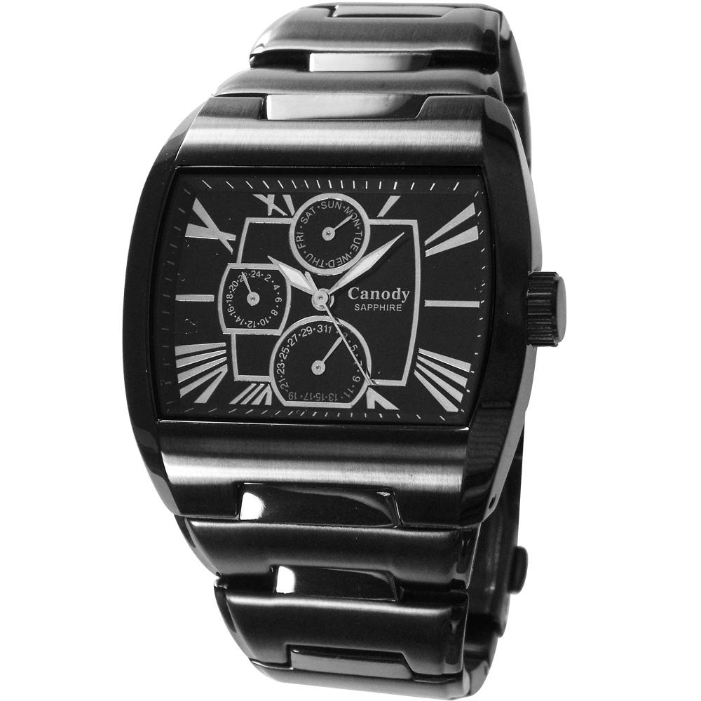 Canody 羅馬時尚三眼日期手錶(CG9806-A)-黑/41mm @ Y!購物