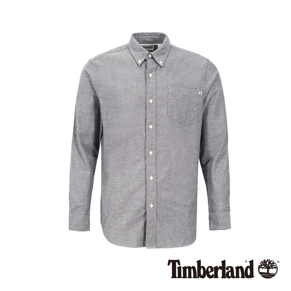 Timberland 男款深藍寶石色彈力牛津紡長袖襯衫|A1WNK