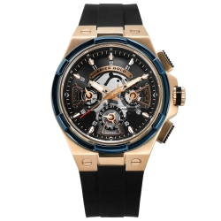 ARIES GOLD 鏤空 藍寶石水晶玻璃 日星期 防水 矽膠手錶-黑x玫瑰金/45mm