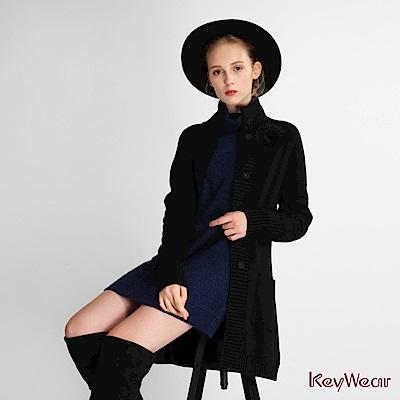 KeyWear奇威名品針織長袖長板外套-黑色