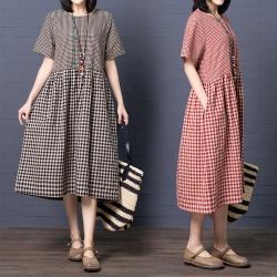 日系甜美可愛格紋寬鬆洋裝M-2XL(共二色)Keer