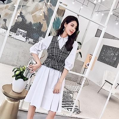韓系格紋背心襯衫洋裝-S~L-Dorri