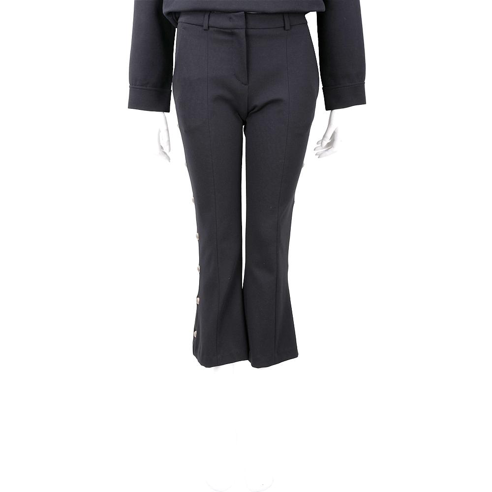 PINKO 黃銅排釦飾邊黑色微喇叭八分長褲