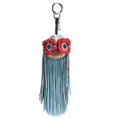 FENDI 經典花朵眼睛皮革流蘇造型鑰匙圈/吊飾(藍色)