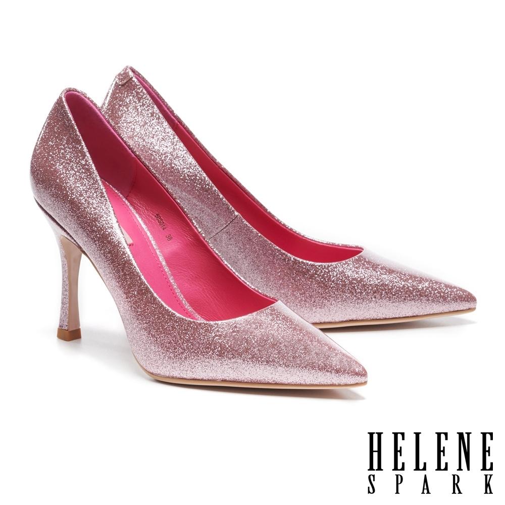 高跟鞋 HELENE SPARK 華麗閃耀金蔥全真皮尖頭美型高跟鞋-粉