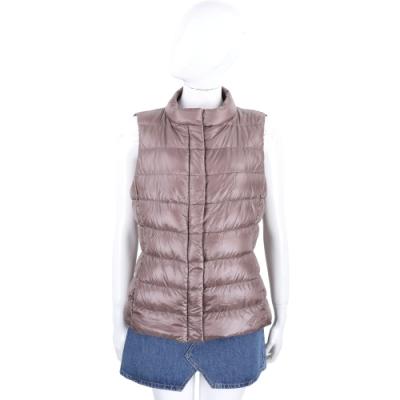 HERNO 芋粉色車縫立領羽絨背心 外套