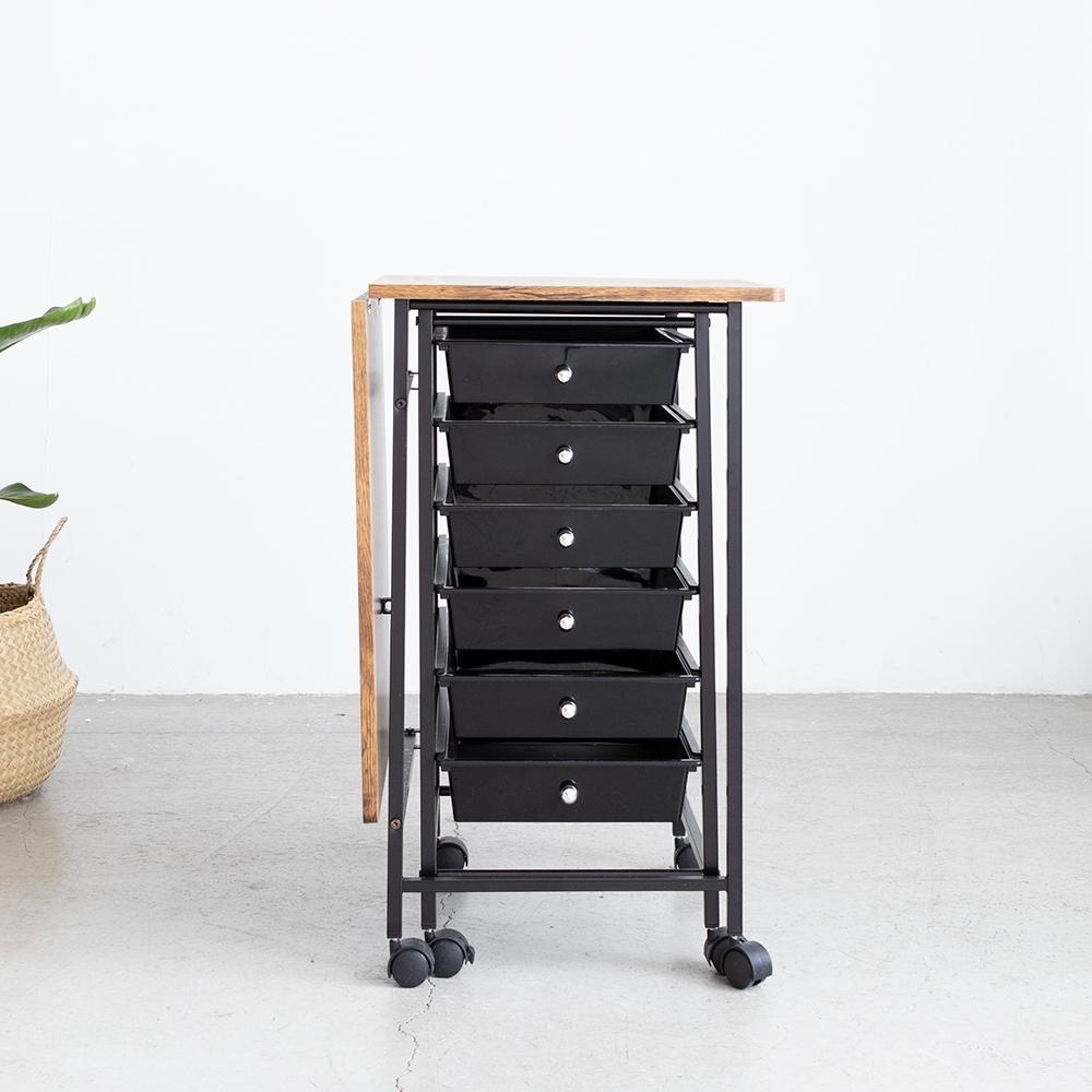 Amos-輕工業復古風六抽摺疊收納桌