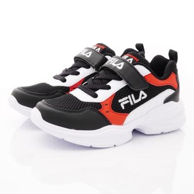 FILA頂級童鞋 輕量慢跑鞋款 FO09U-011黑白紅(中大童段)