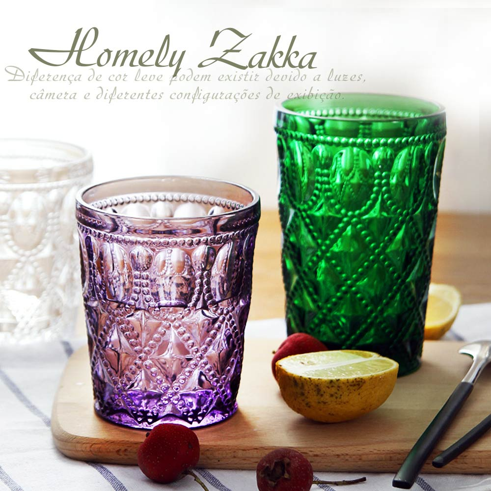 Homely Zakka 午茶食光歐式古典浮雕玻璃杯甜點杯-寶石格紋400ml(顏色隨機出貨)