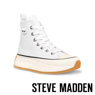 STEVE-MADDEN-SHARK 經典潮流款 厚底休閒帆布鞋-白色