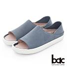 【bac】週末輕旅行 - 溫潤牛皮魚口多變兩穿式休閒鞋-淺藍色