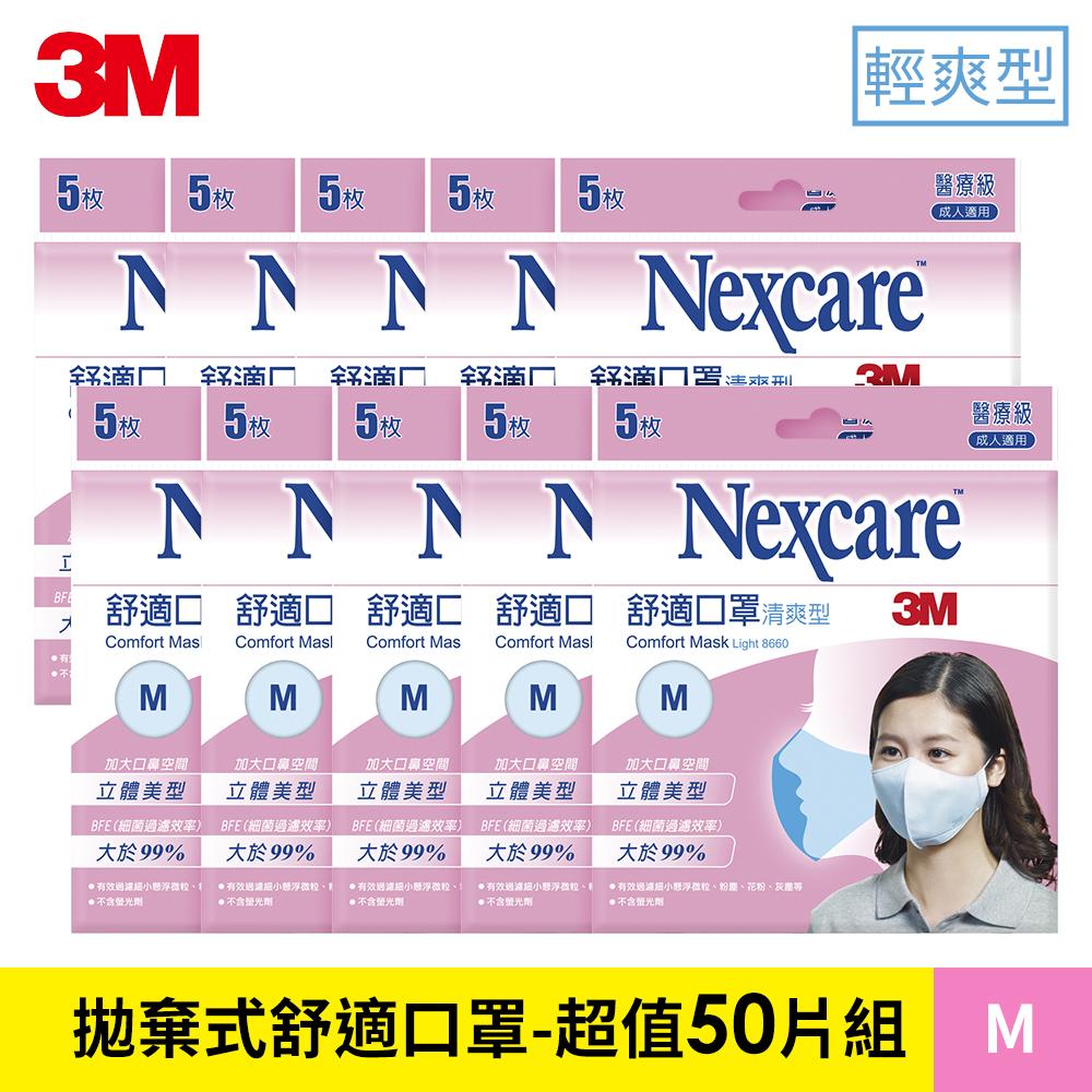 [時時樂限定]3M 輕爽型拋棄式舒適口罩-超值50片組 (M) 8660