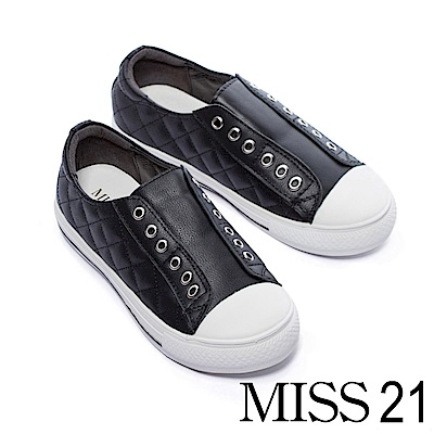 休閒鞋 MISS 21美式休閒菱格紋無鞋帶全真皮休閒鞋-黑