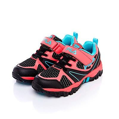 FILA KIDS大童戶外越野跑鞋-桃藍 3-X814S-203