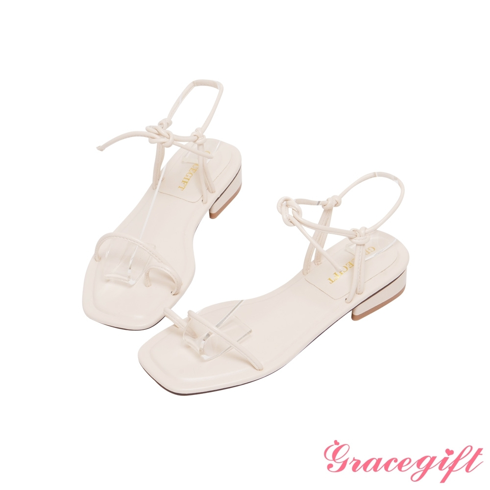 Grace gift-一字套趾綁帶低跟涼鞋 米白