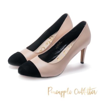 Pineapple Outfitter-RIVERIA法式優雅拼接圓頭高跟鞋-粉藕色