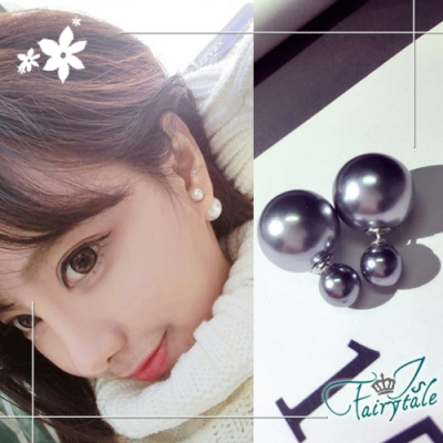 iSFairytale伊飾童話 雙面珍珠 兩面穿搭貼耳式耳環 銀霧灰