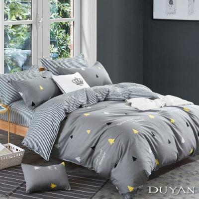 DUYAN竹漾 100%精梳純棉 雙人加大四件式舖棉兩用被床包組-芬蘭森林 台灣製