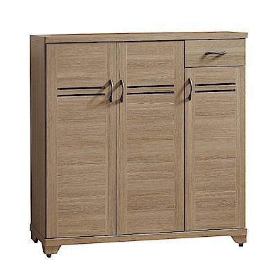 綠活居 莉比娜 現代3.9尺三門單抽鞋櫃/玄關櫃-118x40x118cm免組