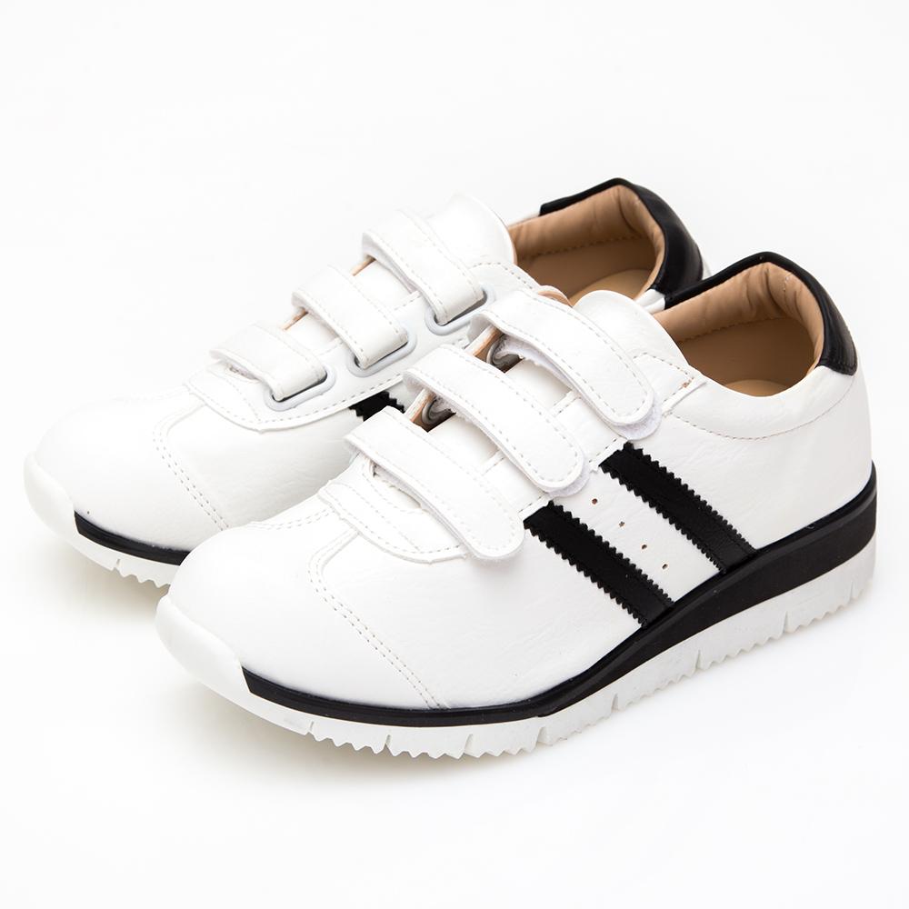 Camille's 韓國空運-正韓製-撞色雙線條魔鬼氈運動休閒鞋-白色