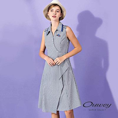 OUWEY歐薇 活片造型輕薄格紋背心洋裝(藍)