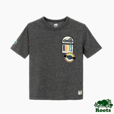 女裝Roots 霓虹貼布不收邊領口短袖T恤-灰色