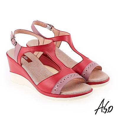A.S.O 挺麗氣墊 沖孔拼接T型全真皮氣墊楔型涼鞋 桃紅