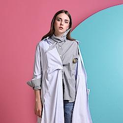 gozo 藝術品牌logo別針細格紋襯衫(二色)
