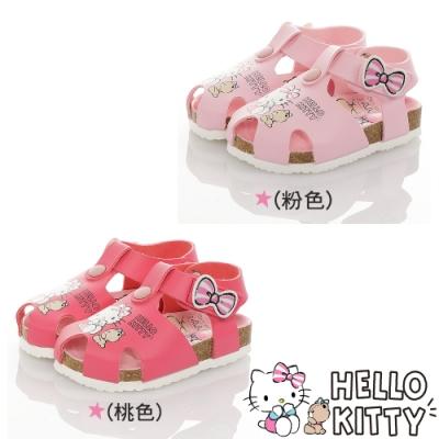 Hello Kitty童鞋 輕量減壓吸震腳床型護趾涼鞋-粉.桃