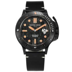 GIORGIO FEDON 1919 限量 鎳鐵隕石 防水 真皮潛水機械錶-橘黑/45mm