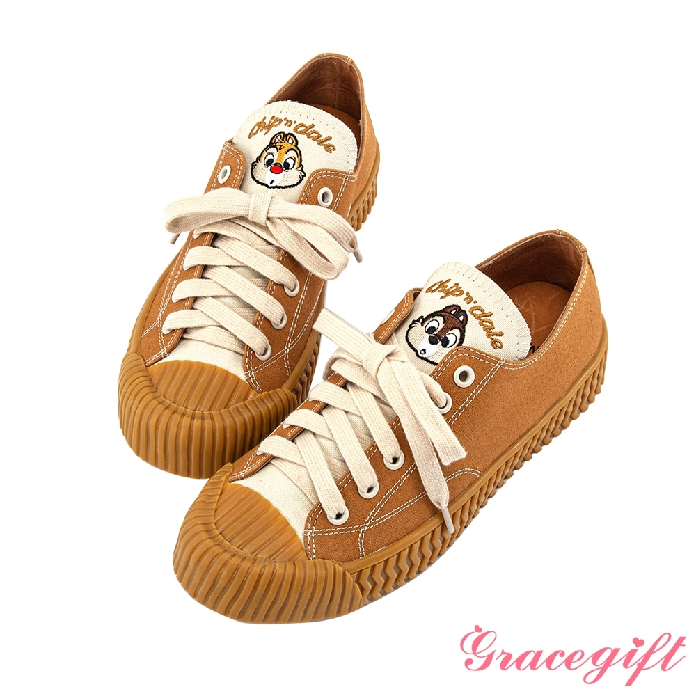 Disney collection by grace gift-迪士尼奇奇蒂蒂帆布餅乾鞋 棕