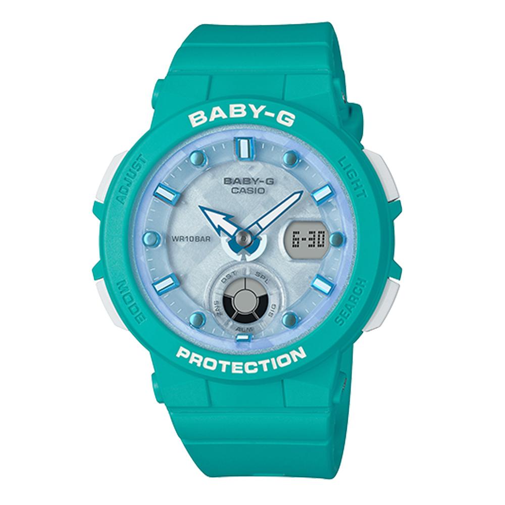 BABY-G 熱愛海洋風格船舵概念設計霓虹照明運動錶(BGA-250-2)藍綠41m