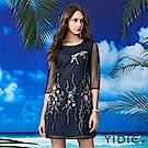 【YIDIE衣蝶】立體花鳥刺繡鏤空網紗短洋裝