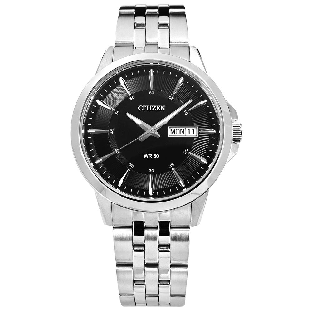 CITIZEN 礦石強化玻璃日期星期不鏽鋼手錶(BF2011-51E)-黑色/41mm