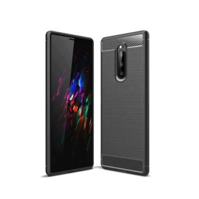 PKG Sony Xperia 1 保護殼套-時尚碳纖紋路+抗指紋-黑